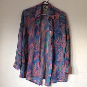 Rare UNIF Trippy Melt Shirt Tripping Oversized XS